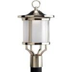 Progress Outdoor Lighting Led Post Lantern Etched Glass Brushed Nickel
