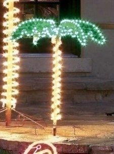 4.5' Tropical Lighted Holographic Rope Light Palm Tree